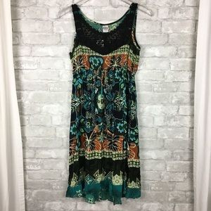 Bila Boho Midi Dress Teal Crocheted Lace Beachy